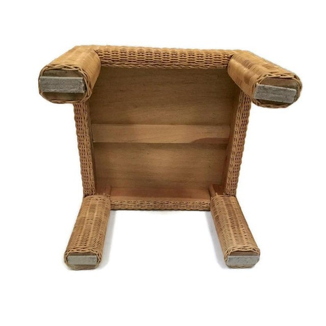 Vintage Wicker Footstool Rattan Ottoman For Sale - Image 9 of 12