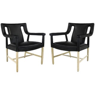 Pair Rare John Widdicomb Black Leather & Bent Bleached Mahogany Lounge Chairs