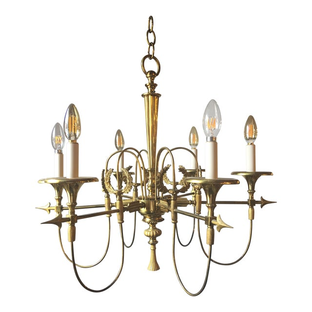 French Mid Century Modern Bronze Chandelier With Empire Details