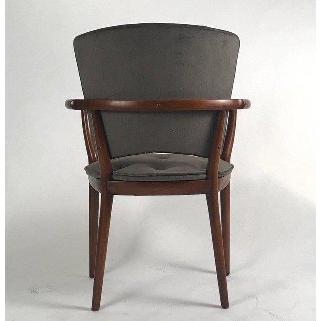 Rare freshly upholstered in tufted grey velvet sculptural Bert England desk chair.