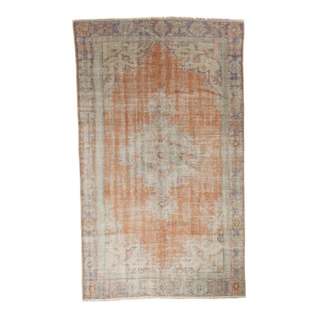 "Vintage Distressed Oushak Carpet - 5'2"" x 8'8"" For Sale"