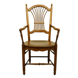 20th Century Traditional Nichols & Stone Solid Cherry Wheat/Sheaf Back Dining Arm Chair For Sale