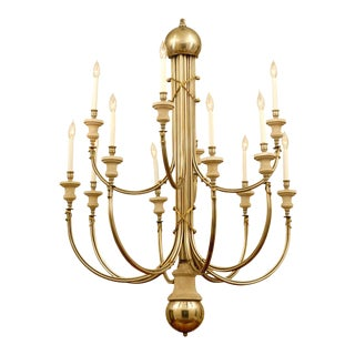 Elegant and Modern 12-Light Chandelier in Nickel and Brass For Sale