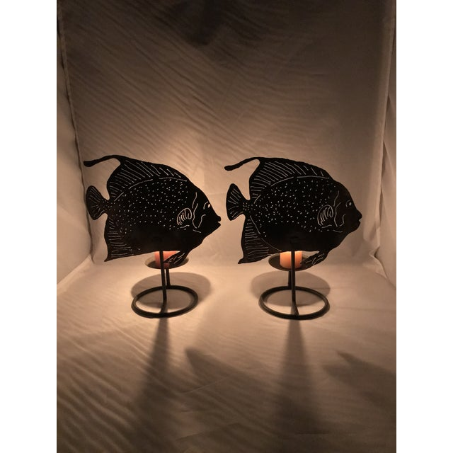 Brutalist Metal Fish Candle Holder - the Pair For Sale In Miami - Image 6 of 13