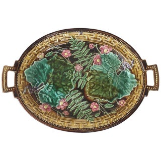 1880s Large Majolica Leaves Oval Handled Choisy Le Roi Compote For Sale