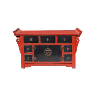 Chinese Distressed Red Black Altar Console Side Table Cabinet