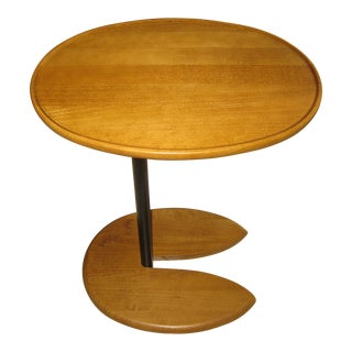 1990s Mid Century Modern Walnut Side Table For Sale