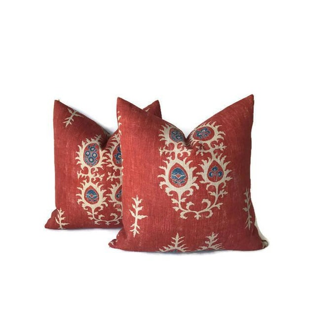 Boho Chic Red Tribal Flame Pillow Cover For Sale - Image 3 of 7
