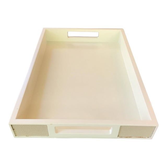 Victoria Hagan Faux Shagreen Ivory Tray - Image 1 of 6