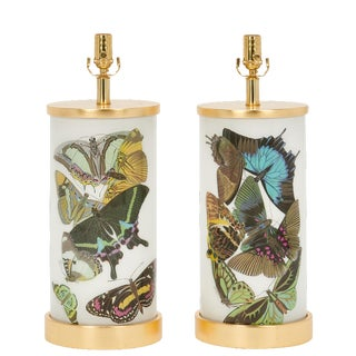 Art Deco Butterfly Lamps by Liz Marsh - a Pair For Sale