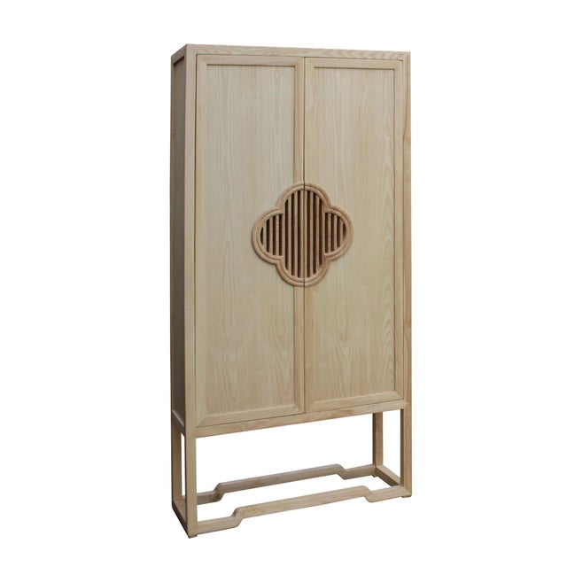 Asian Minimalist Light Raw Wood Shutter Doors Bookcase Display Dresser Cabinet For Sale - Image 3 of 9