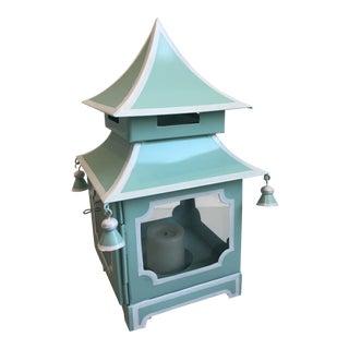Asian Mojdern J. M. Pier's Mini Turquoise & White Pagoda Lantern