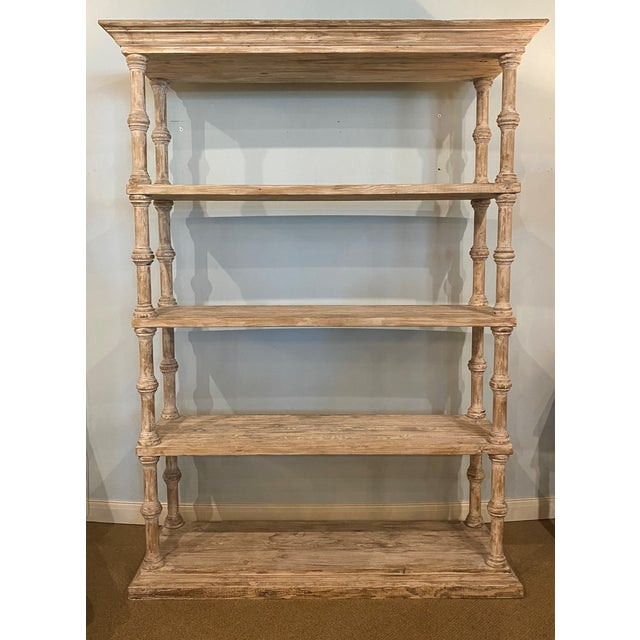 Wood Oversized Four Shelf Whitewashed Etagere For Sale - Image 7 of 7