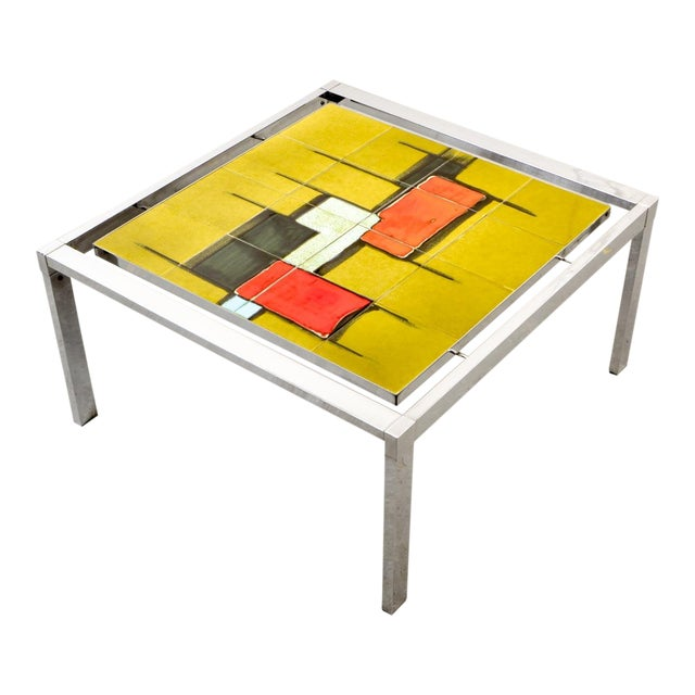 Mid-Century Abstract Design Ceramic Side Table With Chrome Frame, 1970s For Sale