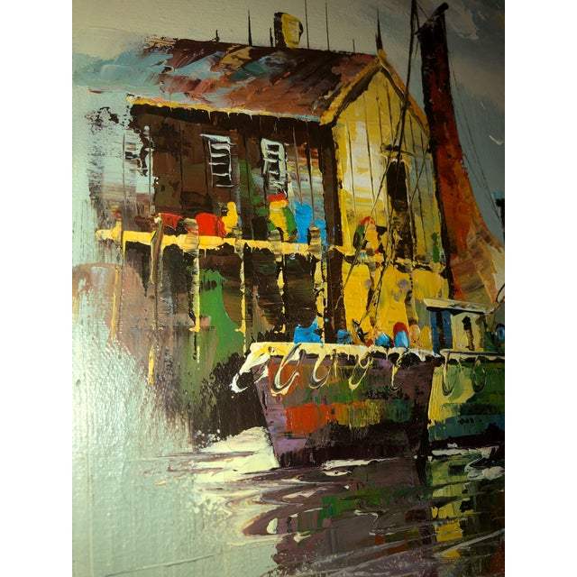 Mid 20th Century Peaceful Mid Century Painting of Sailboats For Sale - Image 5 of 9