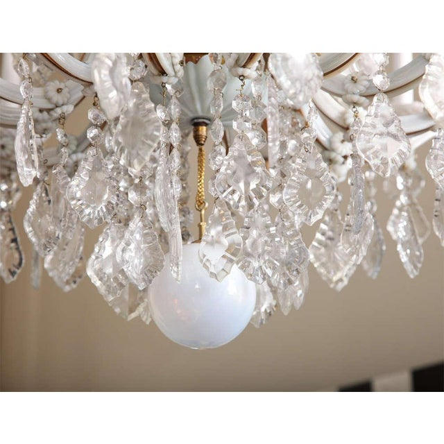White Early 20th Century White Glass Maria Theresa Style Chandelier For Sale - Image 8 of 9