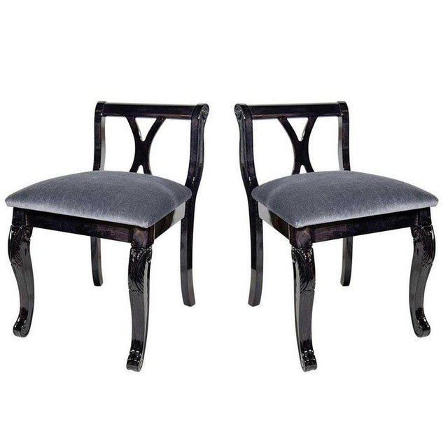 Pair of Art Deco Vanity Chairs in Mohair and Ebonized Walnut For Sale - Image 10 of 10