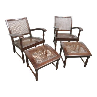 French Style Mahogany Lounge Chairs & Ottomans- 4 Pieces For Sale