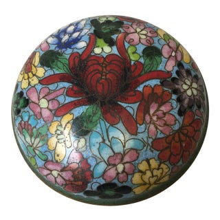 Circa 1900 Antique Chinese Cloisonné Lidded Round Box For Sale