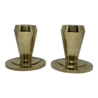 Modernist Heavy Brass Candle Taper Holders - a Pair For Sale