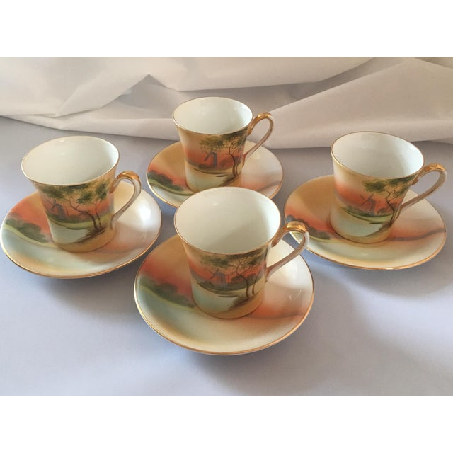 Traditional Handpainted Noritake Windmill Scene Cups & Saucers - Set of 4 For Sale - Image 3 of 11