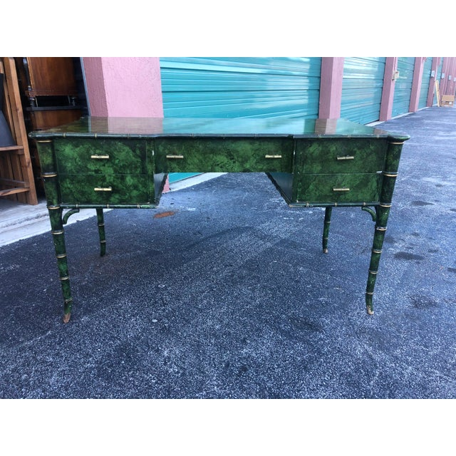 Hollywood Regency Antique Painted Malachite Desk For Sale - Image 3 of 13