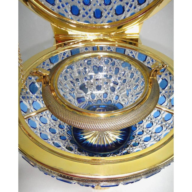 Metal Monumental Crystal and 24k Caviar Bowl by Cristal Benito For Sale - Image 7 of 13