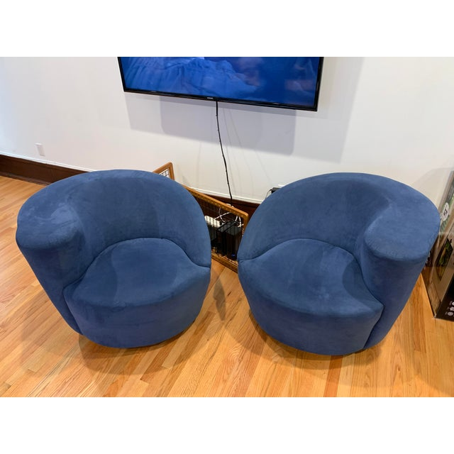 Blue Modern Vladimir Kagan for Directional Nautilus Ultrasuede Swivel Chairs- a Pair For Sale - Image 8 of 10