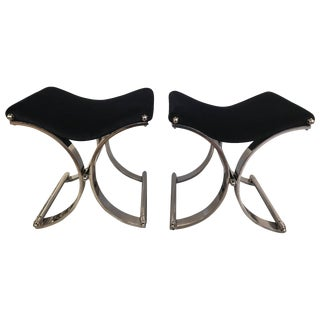 Modern Chrome Saddle Seat Benches - a Pair For Sale