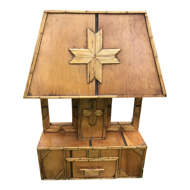 Tramp Art Wooden Table Lamp For Sale