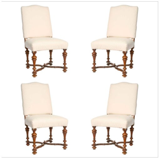 Wood 19th Century Italian Walnut Side Chairs in Brown Linen - Set of 4 For Sale - Image 7 of 7