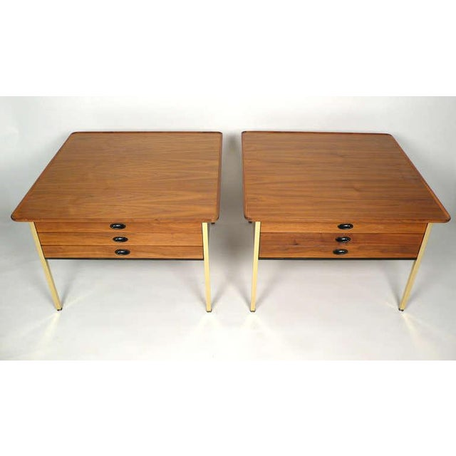This is a pair of oversized end/side tables/nights stands with three drawers designed by Milo Baughman for Arch Gordon....