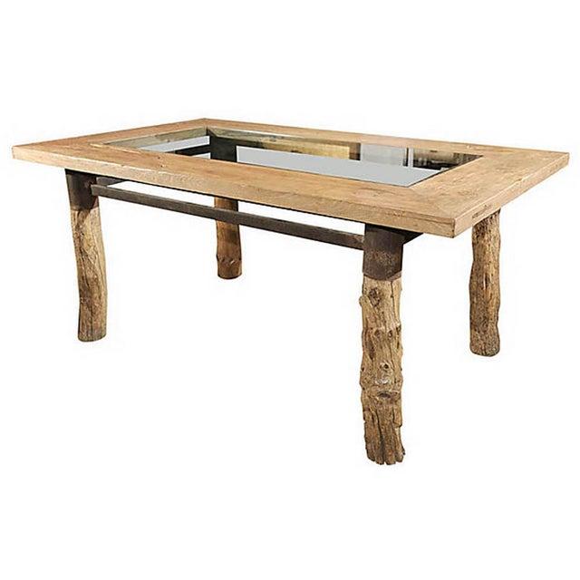 Burlwood Glasstop Dining Table For Sale