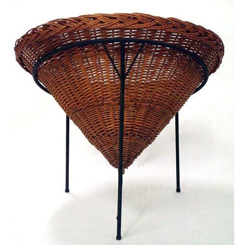 1950s Sunflower Woven Wicker Cone Basket Lounge Chair by Roberto Mango for Tecno For Sale - Image 5 of 6