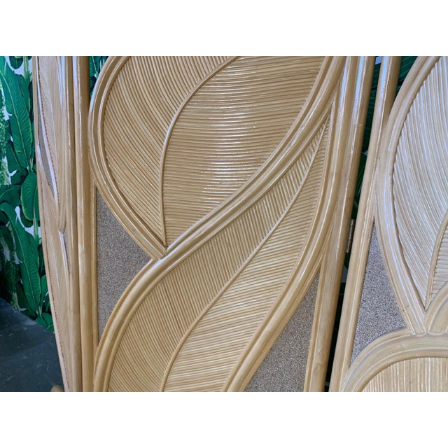 Tropical Rattan Room Divider Folding Screen For Sale - Image 6 of 12