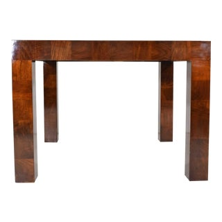 Milo Baughman Burl Wood Parquet Card or Dining Table For Sale