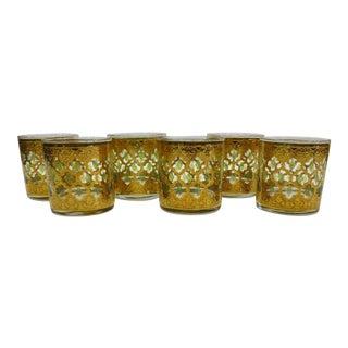 Vintage Culver Valencia Mid-Century Hollywood Regency Lowball Rocks Glasses - Set 6 For Sale