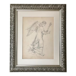 Antique 19th C. Drawing of an Angel Dated 1885 For Sale