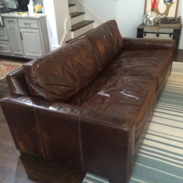 Restoration Hardware Leather Queen Sleeper Sofa - Image 3 of 11