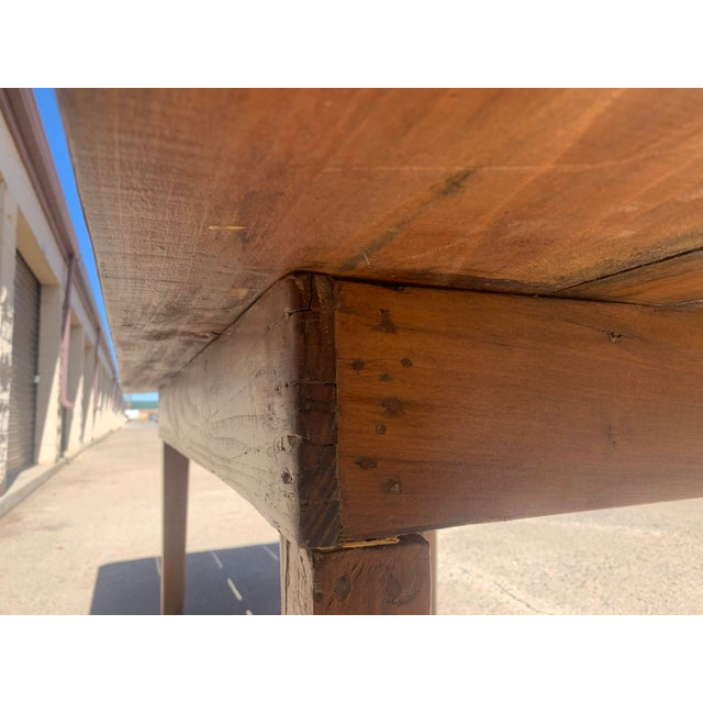 1960s Rustic Custom Built Barnwood PlankTop Dining Table For Sale - Image 9 of 13