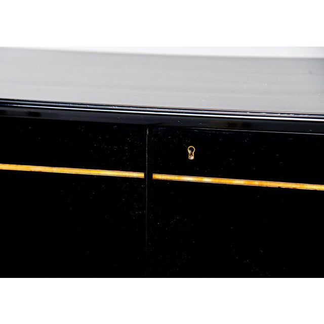 Ebony Mid Century Swedish Ebonized Two-Door Cabinet With New Brass Hardware For Sale - Image 8 of 11