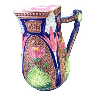 Vintage Majolica Pink Floral Pitcher For Sale