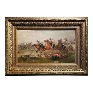 1897 Franco Prussian War Oil Painting on Board by G. Thorsbaek For Sale