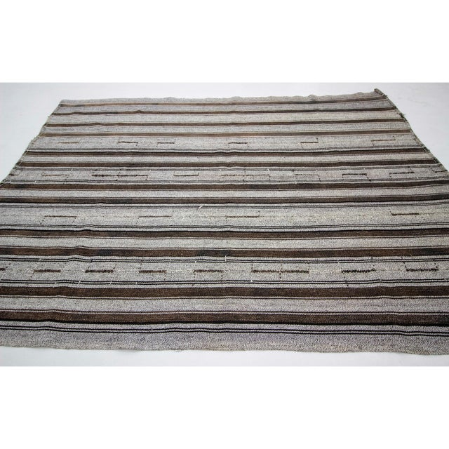 Contemporary 1960s Vintage Gray Striped Kilim Rug- 7′3″ × 9′8″ For Sale - Image 3 of 7
