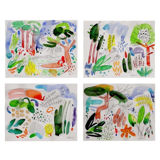 """Garden Set of Four Giclee Prints, 14x11"""" For Sale"""