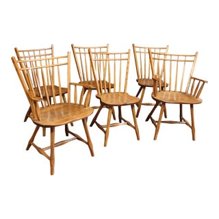 Hunt Country Rustic Oak Dining Chairs - Set of 6 For Sale