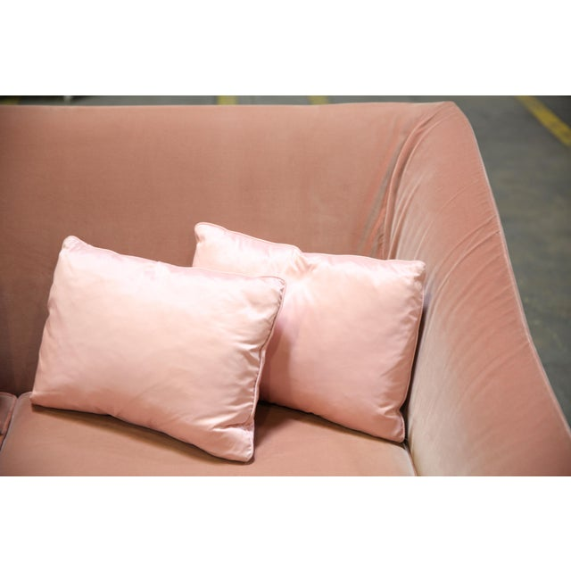 Christian Liaigre Modern Sofa in Pink Velvet with 4 Pillows For Sale - Image 10 of 13
