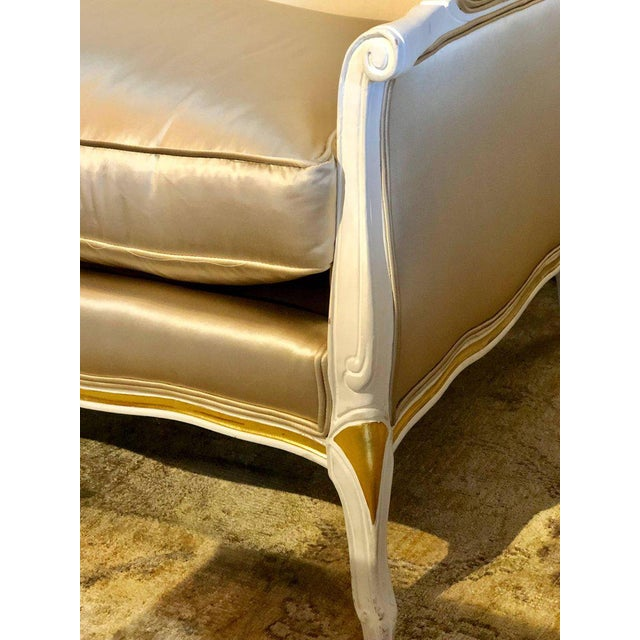 Hollywood Regency Gilt and Paint Decorated Settee / Loveseat in a Fine Satin Upholstery For Sale - Image 3 of 13