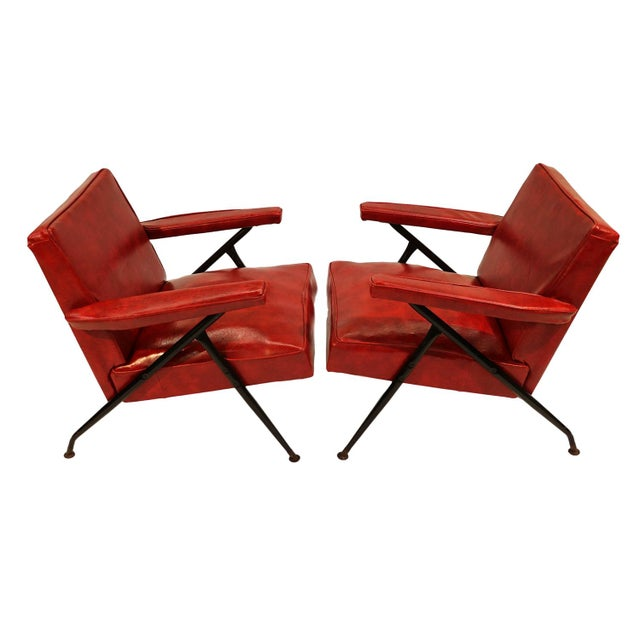 Viko Baumritter Red Lounge Chairs - a Pair - Image 7 of 10