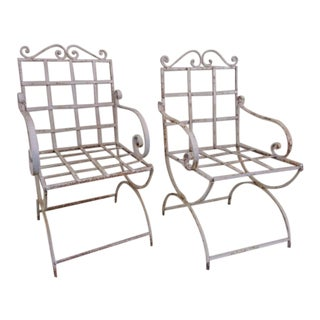 19th Century Antique French Empire Iron Garden Arm Chairs - a Pair For Sale